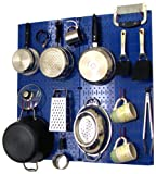 Wall Control Kitchen Pegboard Storage Organizer Kit Pots and Pans Rack - Blue Pegboard with Red Hooks