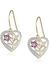 18k Yellow Gold-Plated Sterling Silver and Ruby Heart Earrings