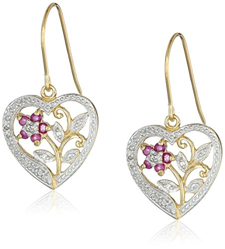Heart Floral Diamond (18k Yellow Gold Plated Sterling Silver Genuine Ruby and Diamond Accent Heart Dangle Earrings)