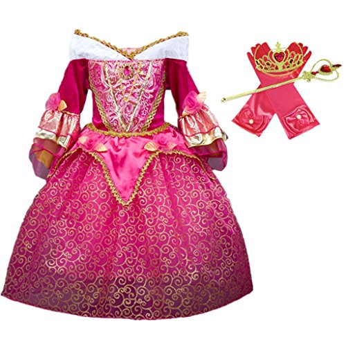 DreamHigh Sleeping Beauty Princess Aurora Girls Costume Dress with Cosplay Accessorries Size 5-6 Years -