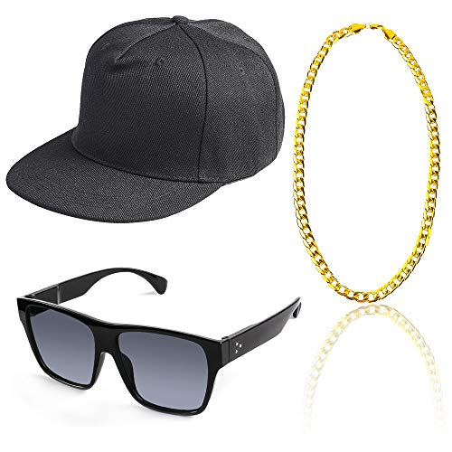 Beelittle 80s 90s Rapper Hip Hop Costume Snapback Baseball Cap DJ Sunglasses Gold Plated Chain (F) -
