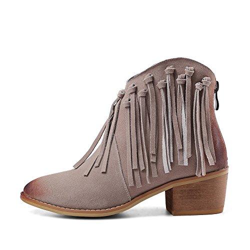Nio Sju Mocka Läder Womens Rund Tå Chunky Häl Tofsar Dekorerade Handgjorda Classy Stövletter Grå