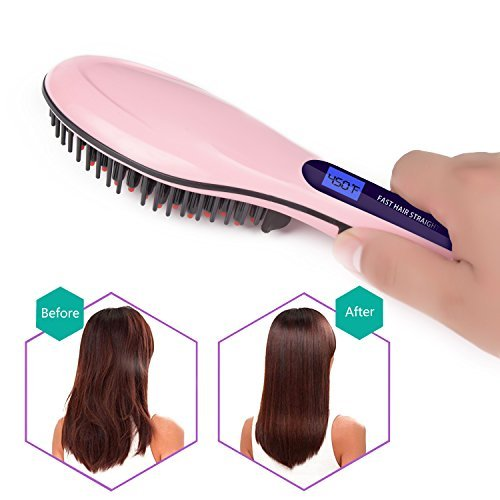 Hair Straightener Brush Ceramic Heating Hair Straightening Brush Temperature Display Anti-scald Effective Hair Comb Pink Color Available