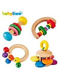 [US CPSC Certificated] Babylian Educational Grasping Rattles Combination of Beech Material for Children of More Than 3 Months Old (4 Type) BOBEBE Online Baby Store From New York to Miami and Los Angeles