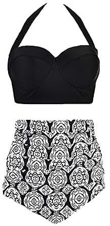 Amourri Vintage Polka Underwire High Waisted Swimsuit Bathing Suits Bikini,Midnight Black,US 2-4=Tag Size S