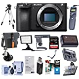 Sony Alpha a6500 Mirrorless Digital Camera Body - Bundle with 64GB SDXC U3 Card, Holster Case, Spare Battery, Tripod, Remote Shutter Trigger, Video Light, Shotgun Mic, Software Package and More
