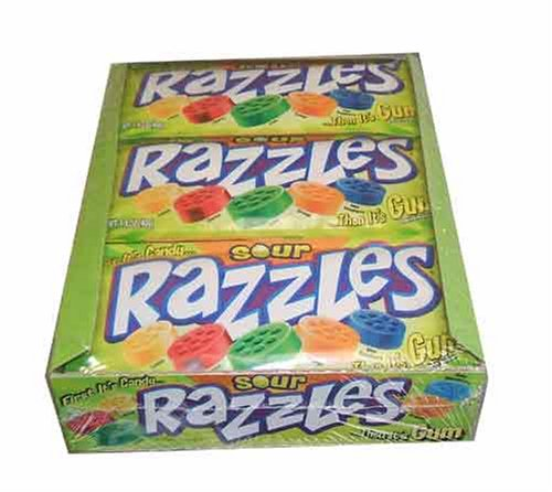 Razzles Sour - Sour Razzles Candy, 1.4oz Pouches, 24-Count