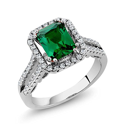 Gem Stone King 925 Sterling Silver Green Simulated Emerald Women's Ring (2.78 Ct Emerald Cut (Size 9) - Lab Created Emerald Ring