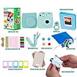 Fujifilm Instax Mini 9 ICE BLUE Camera + 20 Instant Film Twin Pack, + 14 PC Instax Accessories Bundle Kit, Includes; Instax Case, Album, Selfie Lens, 4 Color Lens, Frames, 60 Stickers + MORE.