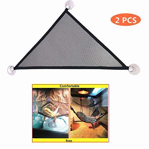 KHLZ US Reptile Hammock Lounger & Ladder Accessories Set for Large & Small Bearded Dragons Anole Geckos Lizards or Snakes (Triangle, 19×13×13 inch, 2 - Lizard Anole