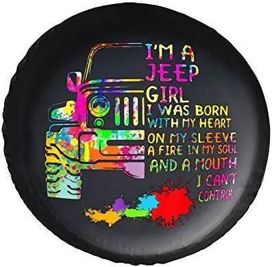 ジープ ガール ヒッピー Im A Jeep Girl タイヤカバー タイヤ保管カバー 収納 防水 雨よけカバー 普通車・ミニバン用 防塵 保管 保存 日焼け止め 径83cm