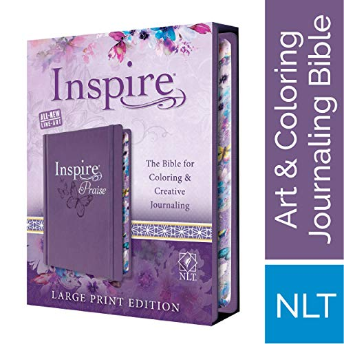 Tyndale NLT Inspire PRAISE Bible (Large Print, Hardcover, Purple): Inspire Coloring Bible-Nearly 500 Illustrations to Color, Creative Journaling Bible Space-Religious Gifts Inspire Connection with God