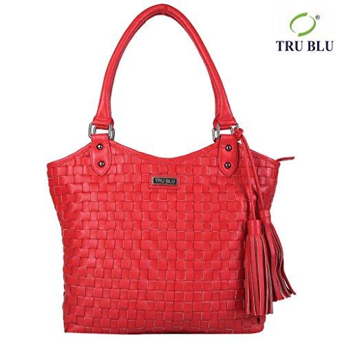 Blu Leather Bag - TRU BLU Women's Genuine Leather Hand Bag 31CM X 39CM X 10CM HAND HANDLE DROP – 23 CM Red