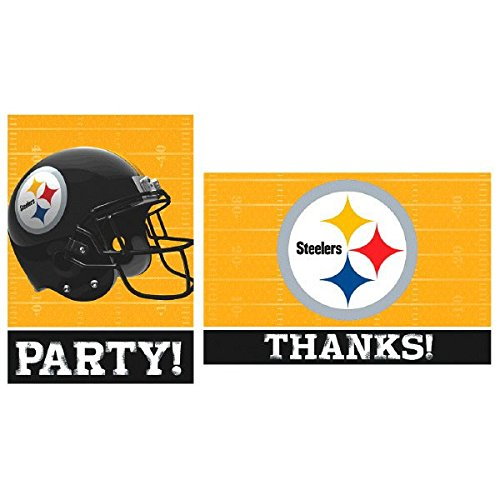 Pittsburgh Steelers NFL Football Sports Party Invitations & Thank You Card Set, Pack of 16. by Amscan