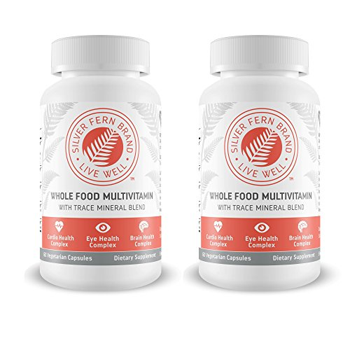 Silver Fern Whole Food Daily Multi Vitamin w/ Trace Mineral Blend Supplement - 2 Bottles - 60 Vegicaps Each - 60 Day Supply - Natural, Non-GMO, Vegan, Multivitamin for Men & Women - Zero Synthetics