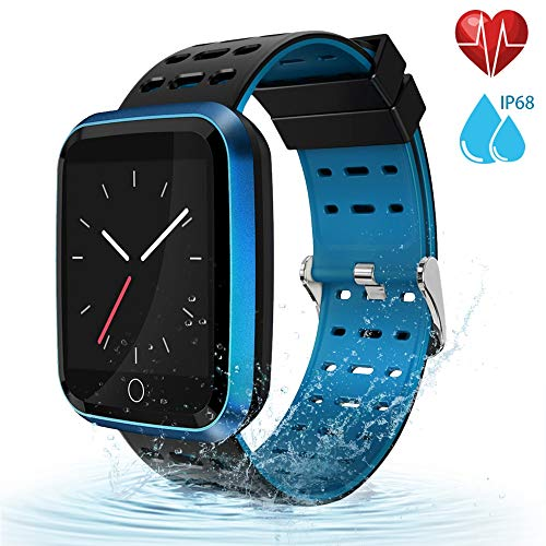 moreFit Fitness Tracker Smart Watch, IP68 Waterproof Fitness Watch Activity Tracker with Heart Rate Monitor, Wearable Smart Bracelet Sleep Monitor Step Counter Pedometer Watch for Men Women Kids, Blue