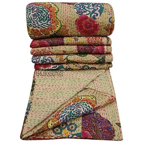 Kiara Indian Vintage Ethnic Cotton Fruit Kantha Quilt Coverlet Bedspread Patchwork Stitch Blanket Twin / Queen Size (Cream ( Off White ), Queen)