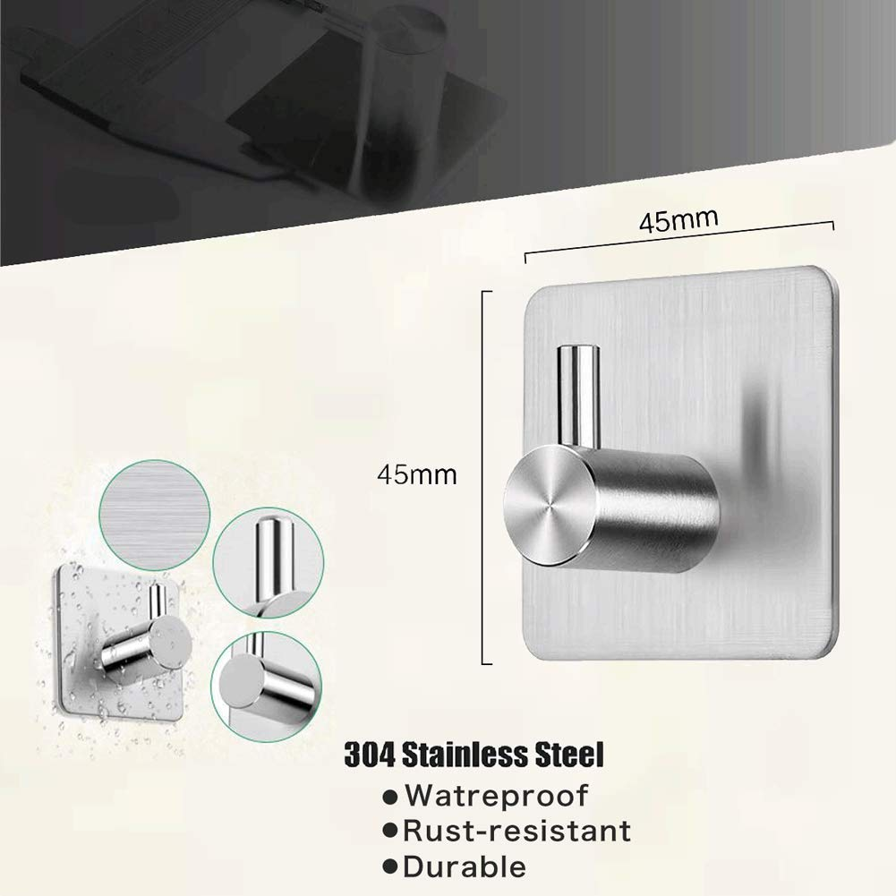 Self Adhesive Hooks Stainless Steel Hooks Strong Sticky Wall Hook with 3M Stickers,Waterproof Rust-Proof Hook for Bathroom Toilet Kitchen,4 Pieces