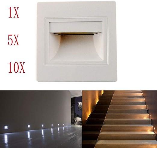 1/3/5/10 X Led Footlight Pared empotrada Escalera Luz Hall Corner ...