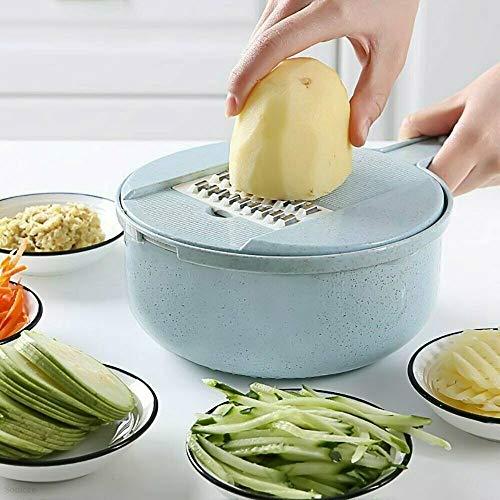 9 IN 1 Multi-function Vegetable Slicer Large Capacity Mandoline Food Cutter (Light Blue)