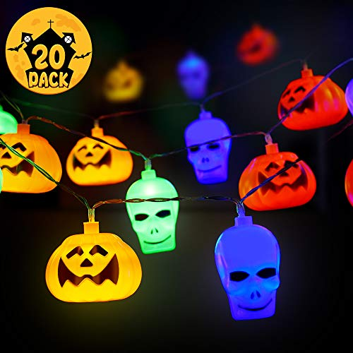 HIGHEVER Halloween Lights,20 LED Halloween String Lights 3D White Skull and Orange Pumpkin Halloween Decorative Light for Indoor Outdoor Party Ideas (Color 001)