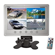 Pyle PLHRQD9W 9-Inch Quad TFT/LCD Video Monitor with Headrest Shroud BNC and RCA Connectors, White