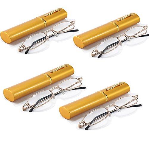 Gold Polished Frame Light Weight Unisex Men Women Eyewear Reading Glasses with Pocket Clip Aluminum Tube Travel Storage Case Holder +2.50 (Pack of 4) ()