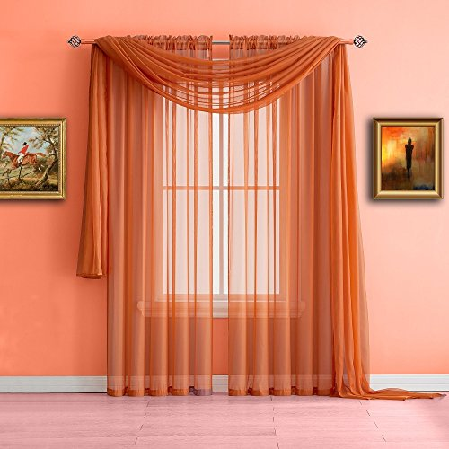 Warm Home Designs Standard Length Bright Orange Sheer Window Scarf. Valance Scarves are 56 X 144 Inches In Size. Great As Window Treatments, Bed Canopy Or For Decorative Project. Color: - Blue Orange Mix And