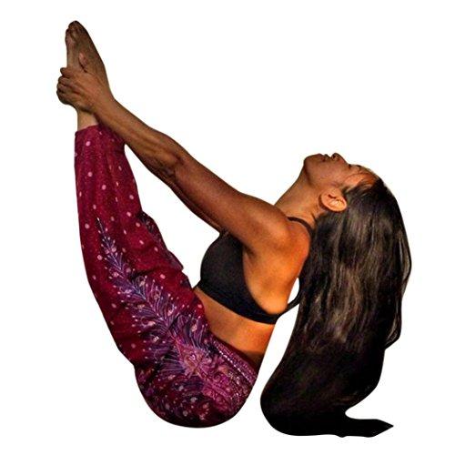 Forthery Harem Pants, Women Men Hippie Bohemian Boho Smocked Waist Aladdin Yoga Pants (Free Size, Wine)