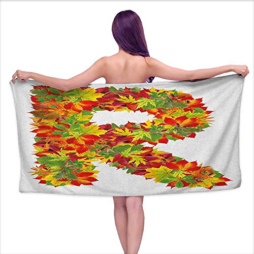 (Andasrew Bath Towel bar Letter R,Floral R Made with Maple Leaves Bouquet Essence Autumn Inspirations Initials Theme, Multicolor,W28 xL55 for Kids Mickey Mouse)