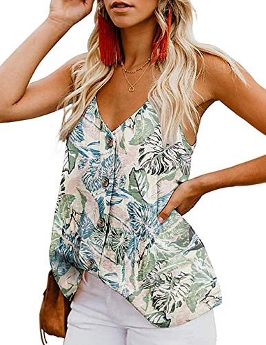 LEANI Women's Floral Print Button Down V Neck Strappy Tank Top Loose Sleeveless Shirts Blouses Light Green
