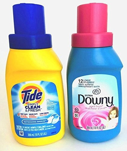 Tide Simply Clean & Fresh & Downy Travel Bundle – 2 Items: Tide Simply Clean & Fresh Liquid Detergent, Refreshing Breeze 10 oz and Downy Ultra Fabric Softener, April Fresh 10 oz by Tide