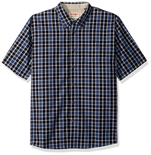 Wrangler Authentics Men's Short Sleeve Plaid Woven Shirt, Caviar, M