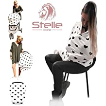 Stelle Baby Nursing Breastfeeding Cover Scarf Poncho - Car Seat Canopy Shopping Cart Stroller Covers for Newborn - Great Design Cozy Fashionable Shawl Sash For Mom - Stretchy, Breathable for Babies