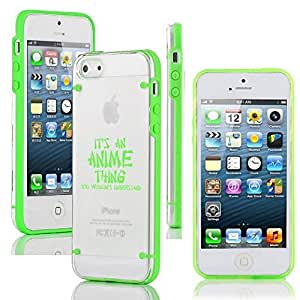 Apple iPhone 5 5s Ultra Thin Transparent Clear Hard TPU Case Cover It's An Anime Thing (Green)