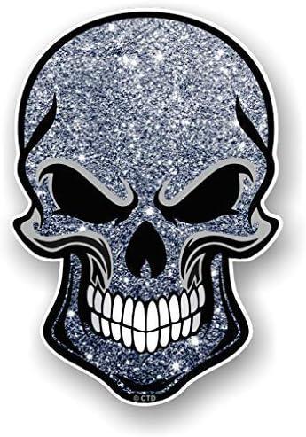 Gothic Biker Totenkopf Design Mit Grau Silber Glitzer Funkel Effekt Außen Vinyl Biker Helm Auto Aufkleber Sticker 110x75mm Auto