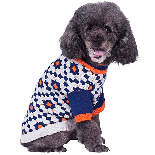 Blueberry Pet Chic Dog Sweater with Vintage Octagons and Squares