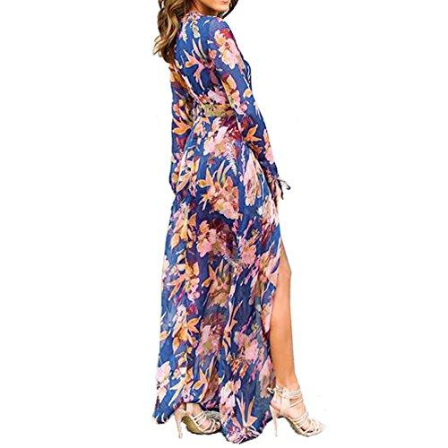 0d8e7d66a54 Slim Bloom Women s Plus Size Floral Print Bohemian Beach Chiffon Long Maxi  Romper Dress high-