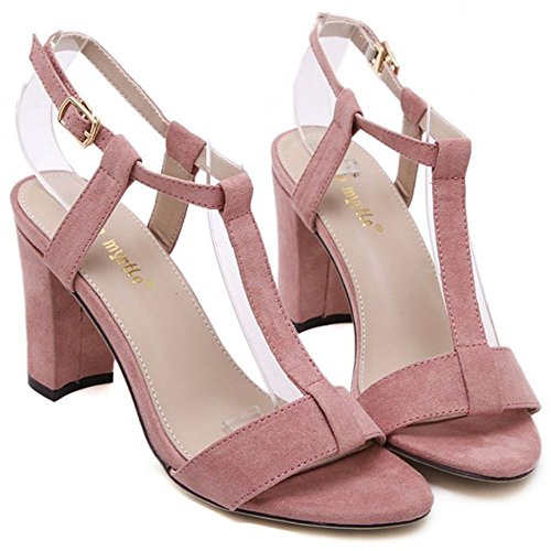 COOLCEPT Zapatos Mujer Moda Punta Abierta Cut Out Correa En T Tacon Ancho alto Sandalias for Fiesta Vestir Travail Rosado