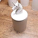 KEYAMA 1 Piece Unicorn white ceramic food storage jar 20 OZ (600ML) ceramic food Sealed jar Tea Coffee Spice Storage canisters Exquisite animal modeling Kitchen Decorative Storage jars (Unicorn)