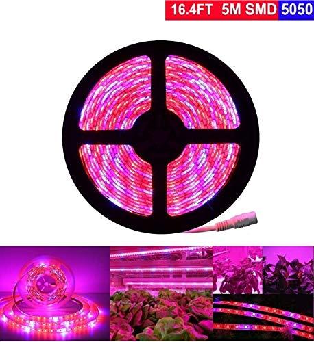 Plant Grow LED Light, Topled Light 16.4ft/5M 5050 SMD LED Strip Lights, Waterproof Full Spectrum Red Blue 4:1 Rope Lights for Aquarium Greenhouse Hydroponic Plant Garden Flowers Veg Grow Lights