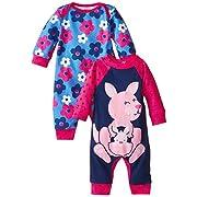 Gerber Baby-Girls Newborn Kangaroo 2 Pack Coverall, Kangaroo, 0-3 Months