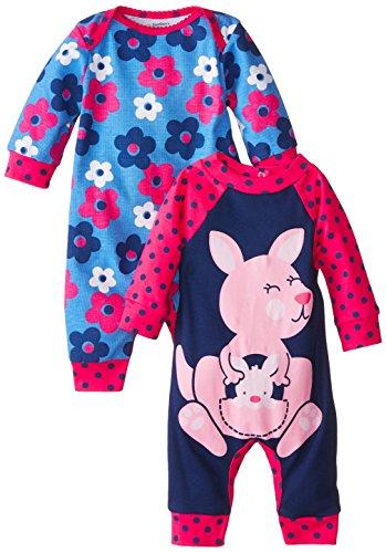 Gerber Baby-Girls Newborn Kangaroo 2 Pack Coverall, Kangaroo, 3-6 Months (Girl Coverall Baby)