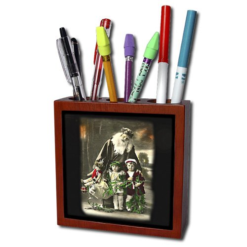 ph_172770_1 Sandy Mertens Vintage Christmas Designs - Photo of Santa and Children in a Mixture of Colors and Black and White - Tile Pen Holders-5 inch tile pen holder