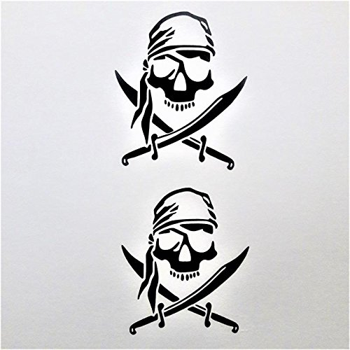 Chase Grace Studio Pirate Skull (2 PACK) Vinyl Decal Sticker|BLACK|Cars Trucks SUVs Cup Yeti Tumbler Laptops Walls Glass Metal|3.25