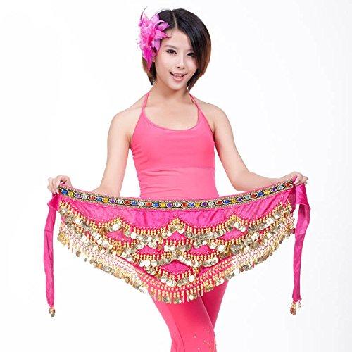 Belly Dance Hip Écharpe Ceinture Jupe avec 328Pièces, rose