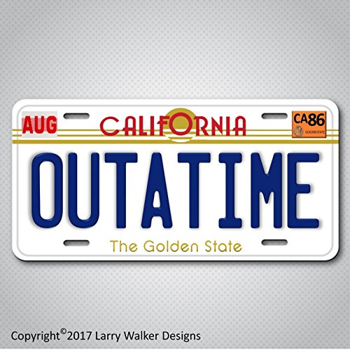 Back to the Future Delorean OUTATIME Replica Prop Aluminum License Plate Tag from Larry Walker Designs