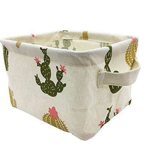 Mziart Cute Small Storage Basket with Handle, Foldable Cotto