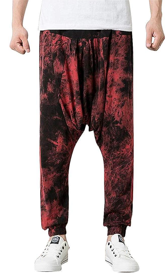 SHOWNO Mens Hip Hop Floral Print Casual Jogger Pants Winter Active Lounge Pants Trousers