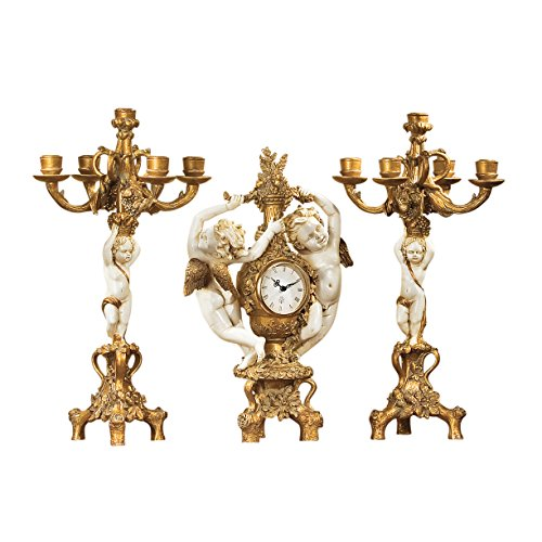 Design Toscano The Cherub's 3-Piece Harvest Clock and Candelabra Set in Ivory and Antiqued F... (Ivory Candelabra)